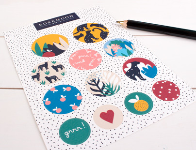 Sheet of Rosemood GRR jungle stickers