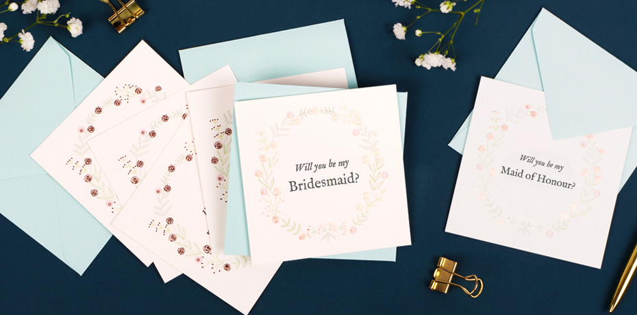 Rosemood Maid of Honour and Bridesmaids cards