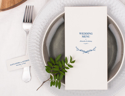 Natural Chic wedding menu cards