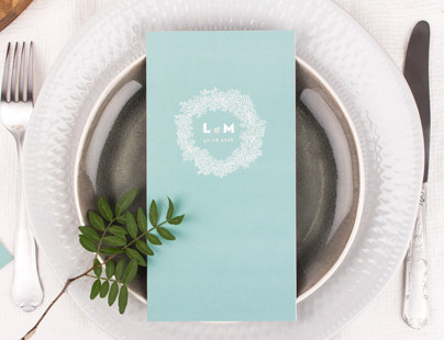 Babys breath rustic wedding menu cards