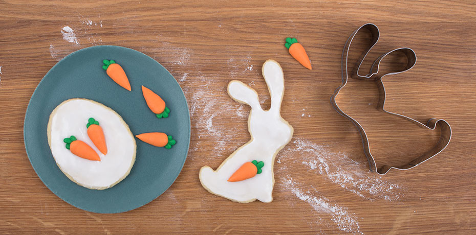 Making Easter bunny biscuits