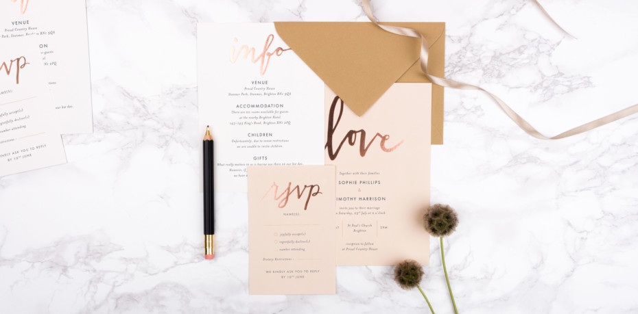 Love letters foiled wedding invitations from Rosemood