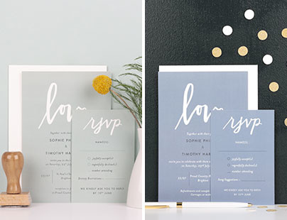 Day and evening wedding invitations from Rosemood