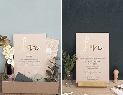 Bridesmaid cards and wedding anniversary invitations from Rosemood